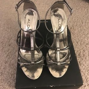 Steel Gray/Silver Strappy Shoes